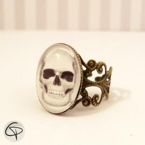 Bracelet manchette bronze cabochon en verre et dessin de t te de mort - Tete de mort origami ...