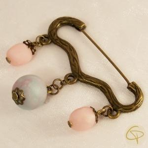 Broche pour femme perles roses et bleue bijou romantique bronze