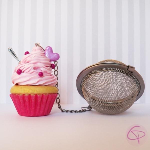 Accessoire à infuser le thé original - boule cupcake cœur rose