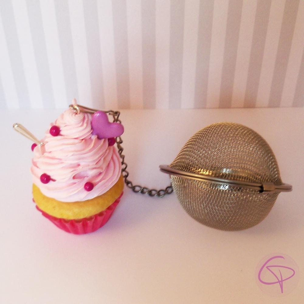 boule th originale contrepoids infuseur cupcake c ur rose. Black Bedroom Furniture Sets. Home Design Ideas