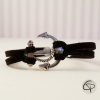 Bracelet suedine noire ancre de bâteau