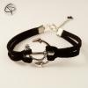 Bracelet cuir suedine noire ancre de bâteau