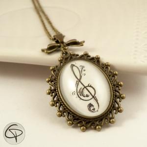 pendentif clef de sol bronze bijou original femme