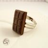 bague plaquette de chocolat noir fourré bijou fantaisie femme