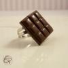 bague plaquette de chocolat noir bijou fantaisie femme