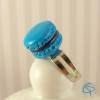 bague macaron bleu turquoise