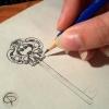 Illustration clef stylisée fait main crayon