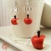 Bijoux gourmands et romantiques pommes croquées faites main en fimo par Chat Pristy