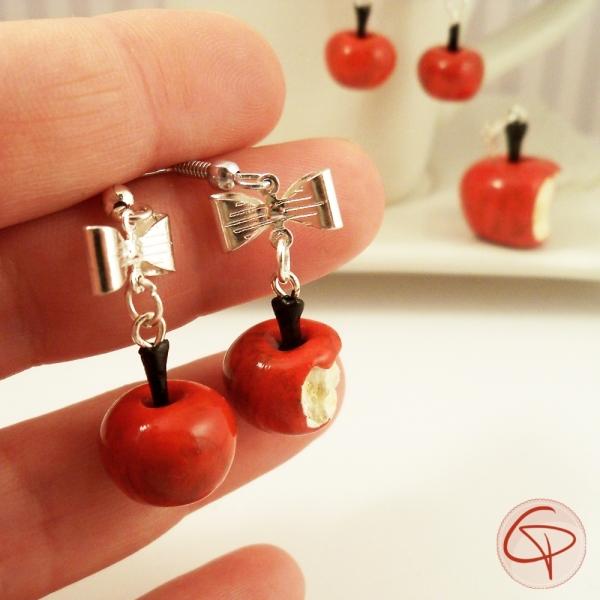 Boucles d'oreilles pomme croquée - bijoux gourmands femme