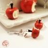 Bijoux gourmands originaux faits main boucles d'oreilles pomme croquée