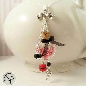 Sautoir fiole coeur bijou romantique femme