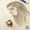 Bague fantaisie catrina dessin original fait main bijou halloween