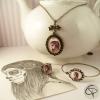 Parure bijoux avec catrina dessinée main bijoux femme pour halloween