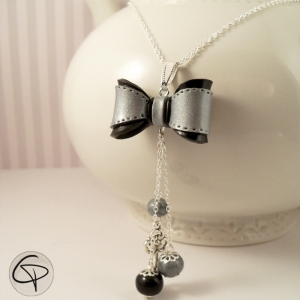 sautoir noeud argent noir