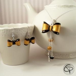 boucles d'oreilles argentées pour femme noeud doré et noir