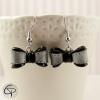 boucles d'oreilles argentées pour femme noeud noir et gris