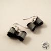 boucles d'oreilles pour femme noeud noir et argenté