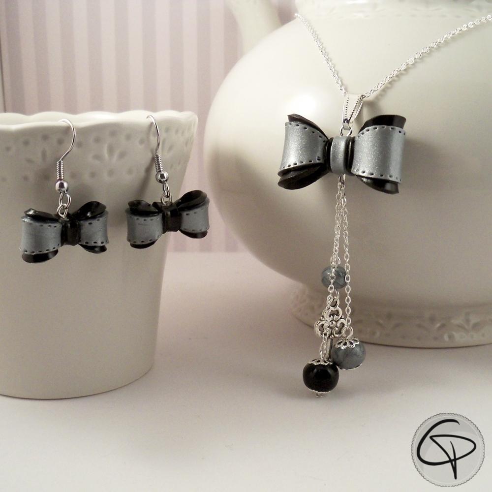 parure boucles d'oreilles noeud gris et noir avec sautoir