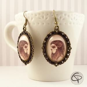 Boucles d'oreilles portrait femme catrina bijou personnalisé halloween
