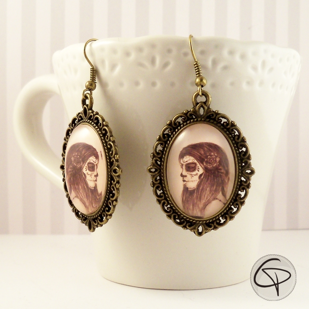 Boucles bronze cabochon chat pristy Catrina
