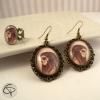 Boucles d'oreilles dessin catrina avec bague halloween bijoux personnalisés femme