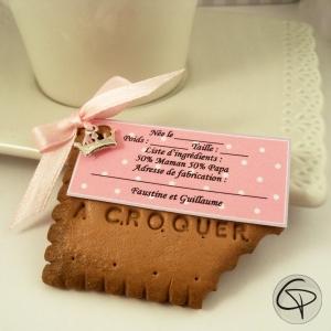 Faire-part de naissance fille original, biscuit Lu personnalisable