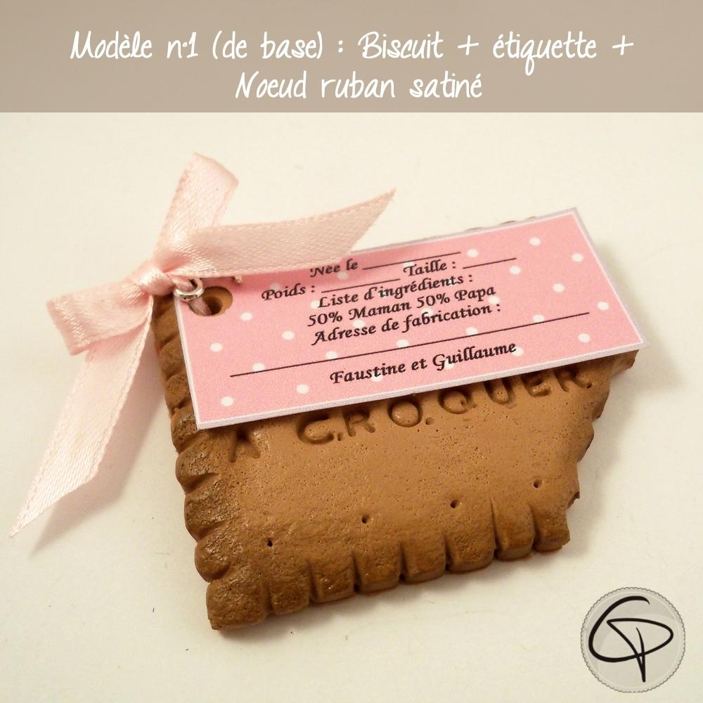 faire-part de naissance biscuit lu croqué personnalisé fille
