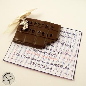 Faire-part de baptême original plaquette de chocolat personnalisé