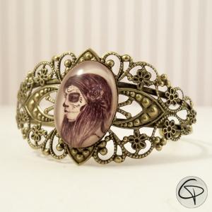 Bracelet manchette bronze catrina dessin fait main