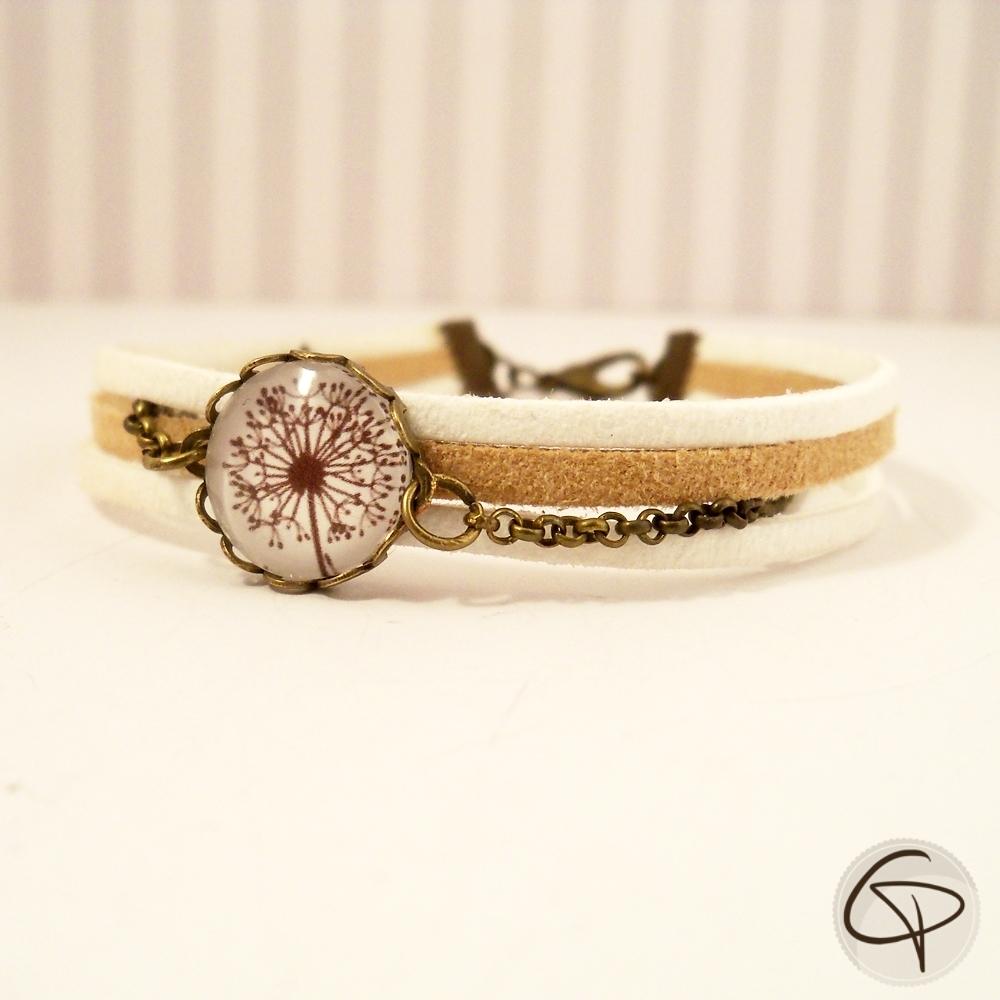Bracelet pissenlit en médaillon rubans suédine beige et blanche