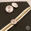 Bracelet pissenlit en médaillon rubans beige blanc bracelet vintage