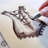 illustration stylo corset à lacet bustier dessin fait main
