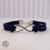 """Bracelet """"infiny"""" avec des joncs en rubans bleu marine"""