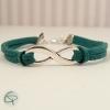Bracelet infini suédine verte bijou original fabriqué main
