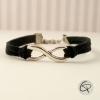Bracelet infini avec ruban cuir noir bijou délicat pour femme