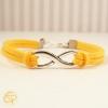 Bracelet infini avec cordon jaune création artisanale