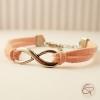Bracelet pour petite fille cordons en suédine rose