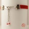 bracelet infini et suédine rouge bijou original fait main pour femme