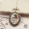 Pendentif catrina illustration originale bijou collier sautoir femme halloween