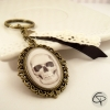 Porte-clef bronze tête de mort dessin crâne halloween