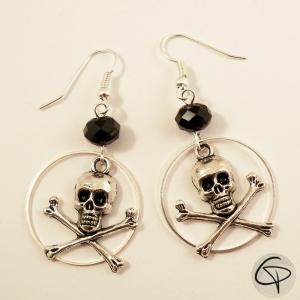 boucles d'oreilles femme tête de mort bijou personnalisé halloween