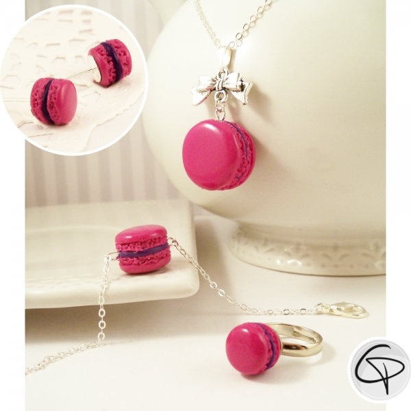 Macarons rose fuchsia - bijoux gourmands pour petite fille