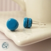clous d'oreilles argentées macarons turquoise bijoux enfant fille
