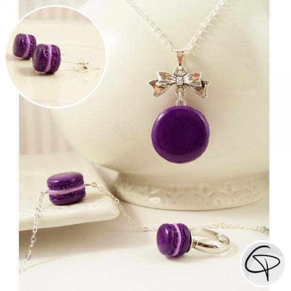 Macarons violets - bijoux gourmands petite fille au choix