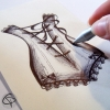 corset ou bsutier à lacet dessiné à la main au stylo