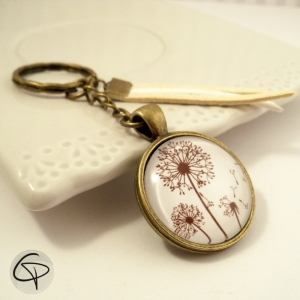 Porte-clef pissenlit médaillon verre porte-clé vintage