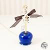 Sautoir pendentif pomme d'amour bleu électrique avec un nœud ruban noir