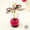 Sautoir pomme d'amour rose avec nœud ruban noir