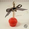 Sautoir pomme d'amour rouge carmin avec nœud dentelle noir