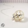 collier pissenlit dandelion pendentif globe en verre et résine clé argenté